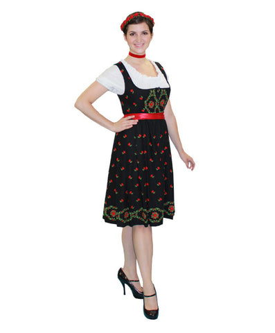 German Woman Black Floral Dress in Theatrical Costumes from BuffaloBreath at Buffalo Breath Costumes