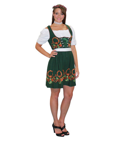 German Woman Green Mini Dress in Theatrical Costumes from BuffaloBreath at Buffalo Breath Costumes