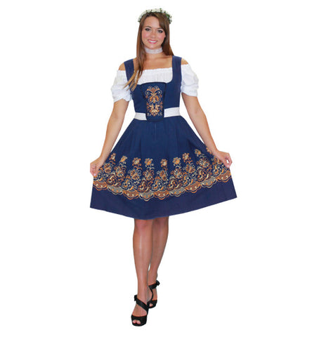 German Woman Dark Blue Print Dress in Theatrical Costumes from BuffaloBreath at Buffalo Breath Costumes