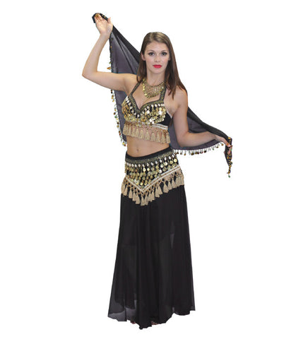 Black and Gold Belly Dancer with Shawl in Theatrical Costumes from BuffaloBreath at Buffalo Breath Costumes