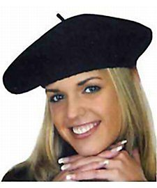 Black Wool French Beret by Jacobson Hats at Buffalo Breath Costumes in San Diego