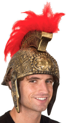 Helmet with Red Feather in Accessories from JACOBSON at Buffalo Breath Costumes