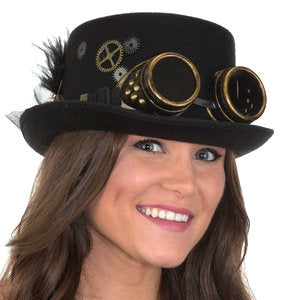 Steampunk Hat with gears, feathers, and goggles by Jacobson at Buffalo Breath Costumes in San Diego