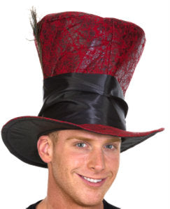 Red Faux Leather Top Hat