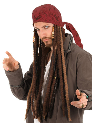 Pirates of the Caribbean Jack Sparrow Head Scarf with Dreads by Elope at Buffalo Breath Costumes