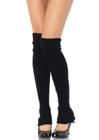 Extra Long Ribbed Knit Leg Warmers in Black by Leg Avenue 3913 at Buffalo Breath Costumes