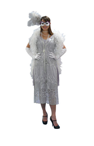 Deluxe Silver Beaded High Society Masquerade in Theatrical Costumes from BuffaloBreath at Buffalo Breath Costumes