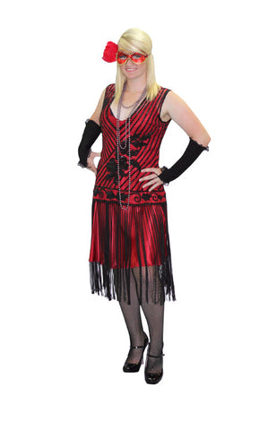 Deluxe Red and Black Beaded High Society Masquerade Drop Waist in Theatrical Costumes from BuffaloBreath at Buffalo Breath Costumes