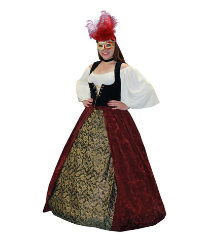 Lady in Waiting Masquerade Red with Gold Skirt in Theatrical Costumes from BuffaloBreath at Buffalo Breath Costumes