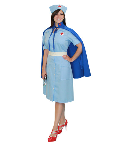 Nurse with Cape deluxe costume rental or purchase at Buffalo Breath Costumes in San Diego