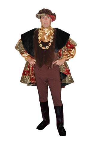 Henry VIII Red and Gold Brocade Jacket With Black Fur Collar in Theatrical Costumes from BuffaloBreath at Buffalo Breath Costumes