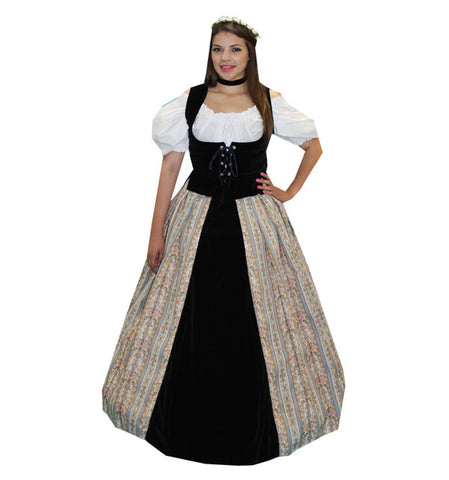 Lady in Waiting with Print and Black Velvet Skirt in Theatrical Costumes from BuffaloBreath at Buffalo Breath Costumes