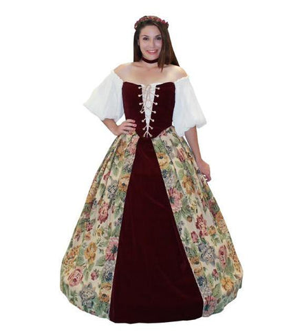 Lady in Waiting with Floral and Burgundy Velvet Skirt in Theatrical Costumes from BuffaloBreath at Buffalo Breath Costumes