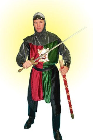 Green and Red Hooded Knight in Theatrical Costumes from BuffaloBreath at Buffalo Breath Costumes