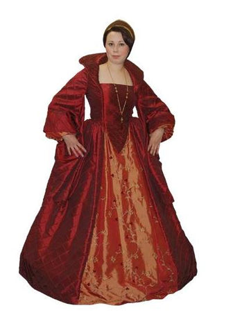Burgundy Duchess renaissance faire costume rental at Buffalo Breath Costumes