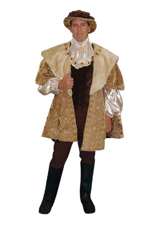 Henry VIII Tan Brocade Jacket with Fur Collar in Theatrical Costumes from BuffaloBreath at Buffalo Breath Costumes