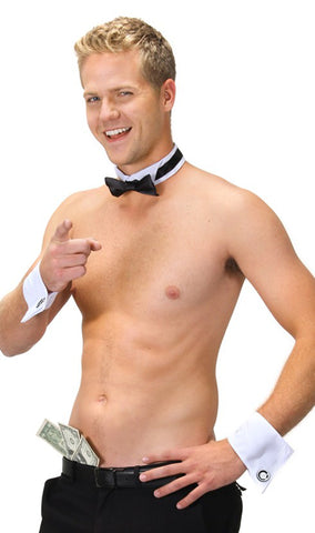 Male Dancer Kit - cuffs, collar, and bow tie by Elope 410531 at Buffalo Breath Costumes