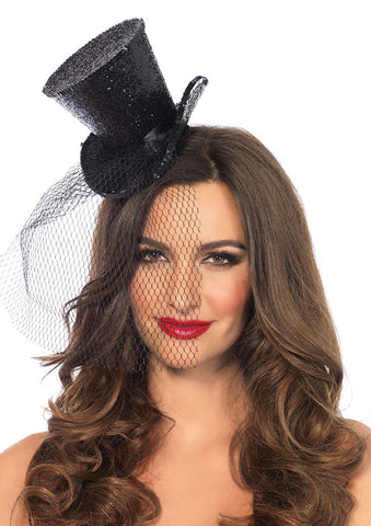 Mini Glitter Top Hat with Veil in black by Leg Avenue 2063 at Buffalo Breath Costumes