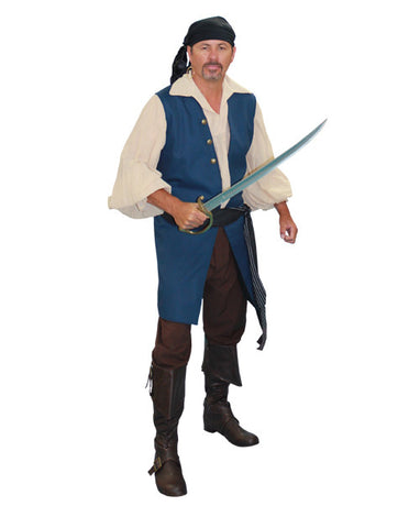Pirate Vested (blue) in Theatrical Costumes from BuffaloBreath at Buffalo Breath Costumes