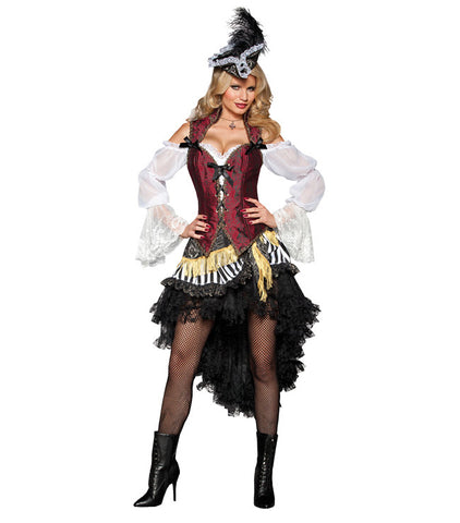 Female Pirate High Seas Treasure deluxe costume rental or purchase at Buffalo Breath Costumes