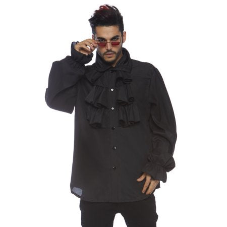 Ruffle Front Shirt in Black by Leg Avenue 86688 at Buffalo Breath Costumes in San Diego