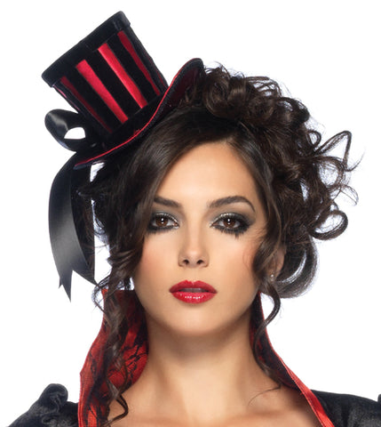 Velvet Striped Satin Top Hat by Leg Avenue 2102 at Buffalo Breath Costumes