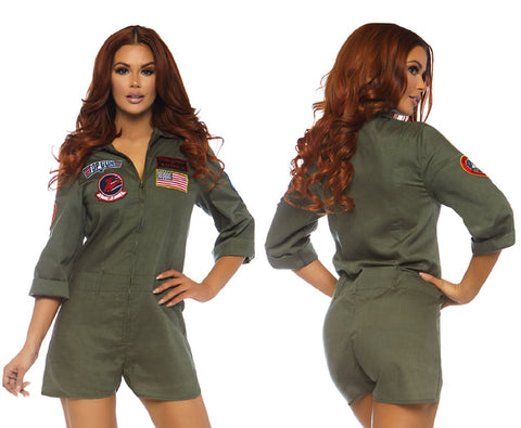 Top Gun Flight Suit Romper sexy military uniform costume by Leg Avenue at Buffalo Breath Costumes