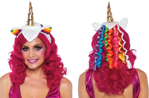 Unicorn Headband with Rainbow Wig Mane by Leg Avenue A1962 at Buffalo Breath Costumes
