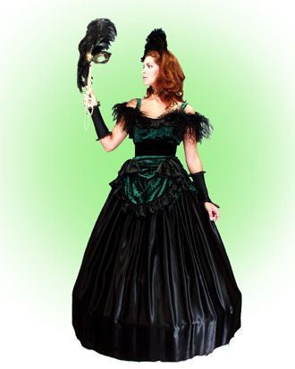 Night In Vienna deluxe Victorian style ballgown costume rental or purchase at Buffalo Breath Costumes