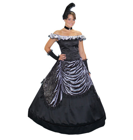 Night In Vienna (Silver) deluxe Victorian ball gown costume rental or purchase at Buffalo Breath Costumes