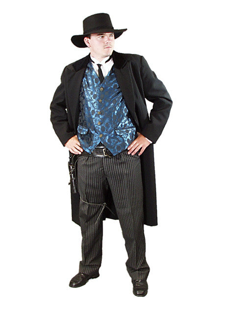 Gunfighter with Blue Vest in Theatrical Costumes from BuffaloBreath at Buffalo Breath Costumes
