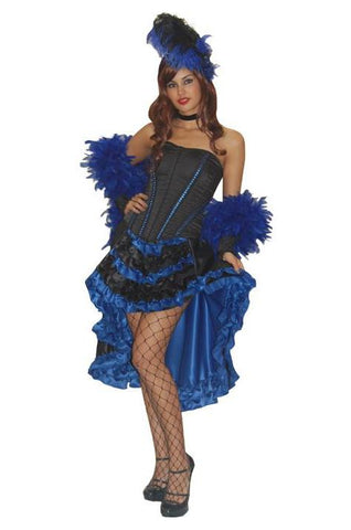 Moulin Rouge (black/blue) deluxe burlesque dancer costume rental or purchase at Buffalo Breath Costumes