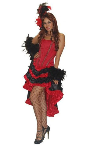 Parisienne Showgirl (red/black) deluxe Moulin Rouge style costume to rent or buy at Buffalo Breath Costumes