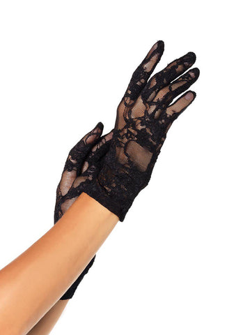 Wrist Length Stretch Lace Gloves in Black by Leg Avenue G1280 at Buffalo Breath Costumes