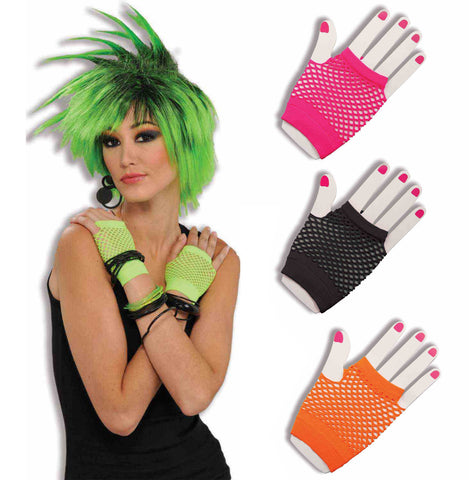 Fingerless Fishnet Gloves 1980s neon