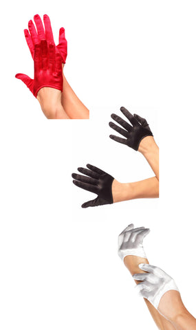 Mini Cropped Satin Gloves by Leg Avenue 2137 at Buffalo Breath Costumes