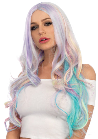 Pastel Rainbow Long Wavy Wig by Leg Avenue