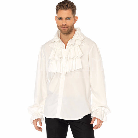 Ruffle Front Shirt in White by Leg Avenue 86688 at Buffalo Breath Costumes