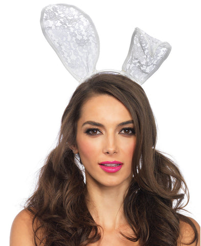 White Lace Bunny Ear Headband by Leg Avenue 3753