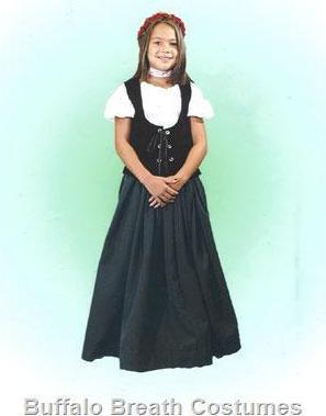 Medieval / Renaissance Faire Lady-in-Waiting child size costume rental or purchase at Buffalo Breath Costumes in San Diego