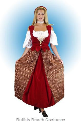Lady-in-waiting deluxe medieval/renaissance costume rental or purchase at Buffalo Breath Costumes in San Diego
