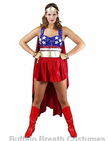 Wonder Woman superhero costume rental at Buffalo Breath Costumes in San Diego