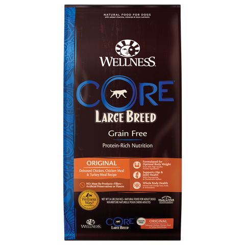 20% OFF + FREE GIFT Wellness CORE Grain Free Large Breed Original Dry Dog Food