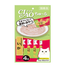 CIAO Chu-ru Chicken Fillet & Squid Cat Treats 14g x 4
