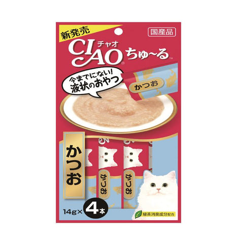 CIAO Chu-ru Tuna Katsuo Cat Treats 14g x 4