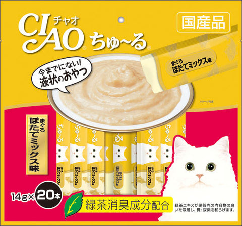 CIAO Chu-ru Tuna Scallop Mix Cat Treats 14g x 20