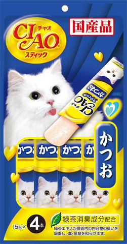 CIAO Stick Tuna Katsuo in Jelly Cat Treats 15g x 4