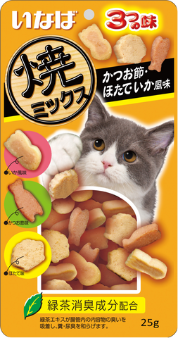 CIAO Soft Bits Mix Dried Bonito, Scallop and Squid Flavor Cat Treats 25g