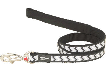 Red Dingo Fixed Length Lead Reflective Ziggy Black