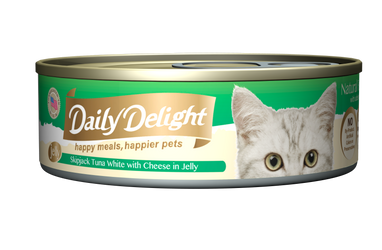 Daily Delight Jelly - Skipjack Tuna White with Cheese Canned Cat Food, case of 24 - Push Pets Singapore